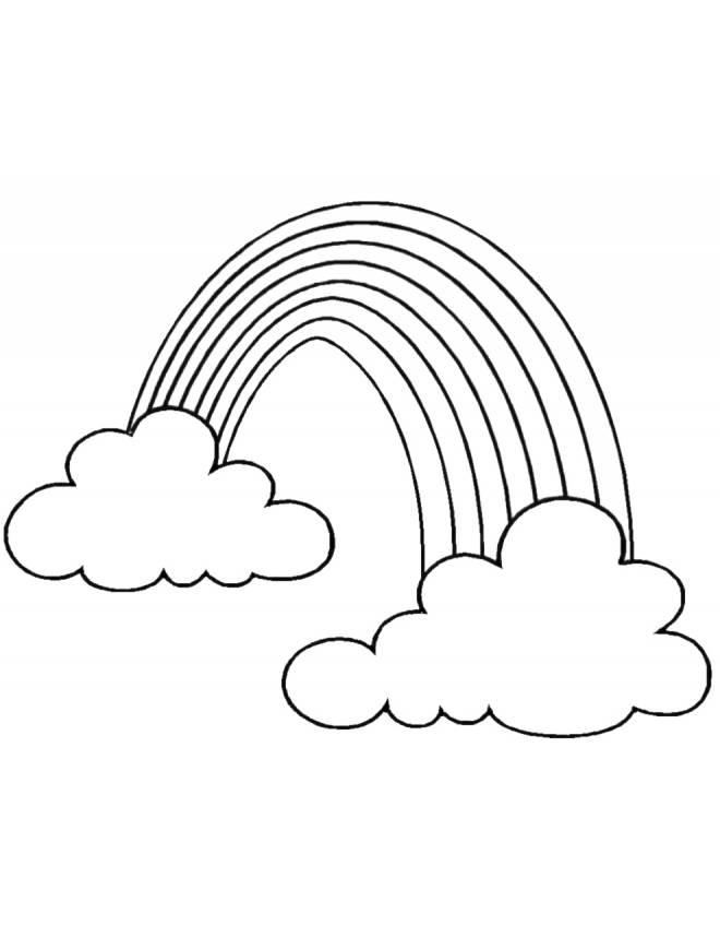 Disegno di arcobaleno e nuvole da colorare per bambini for Disegni di ponte anteriore