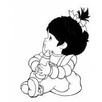 Disegno di Bambina con Biberon da colorare