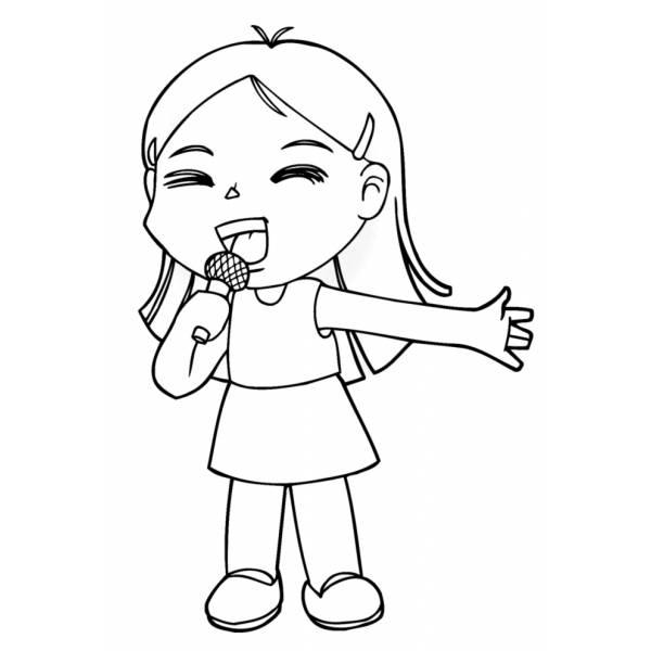 Disegno Di Bambina Che Canta Da Colorare Per Bambini