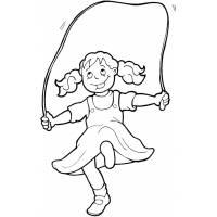 Disegno di Bambina che Gioca con Corda da colorare