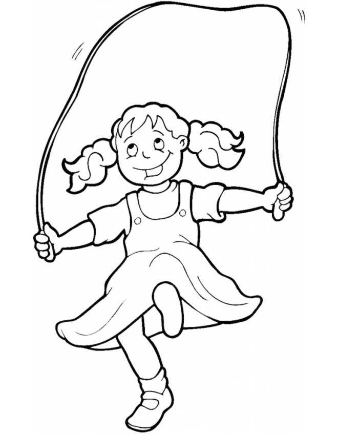Disegno Di Bambina Che Gioca Con Corda Da Colorare Per Bambini Disegnidacolorareonline Com