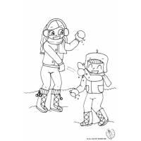 disegno di Bambini che Lanciano Palle di Neve da colorare