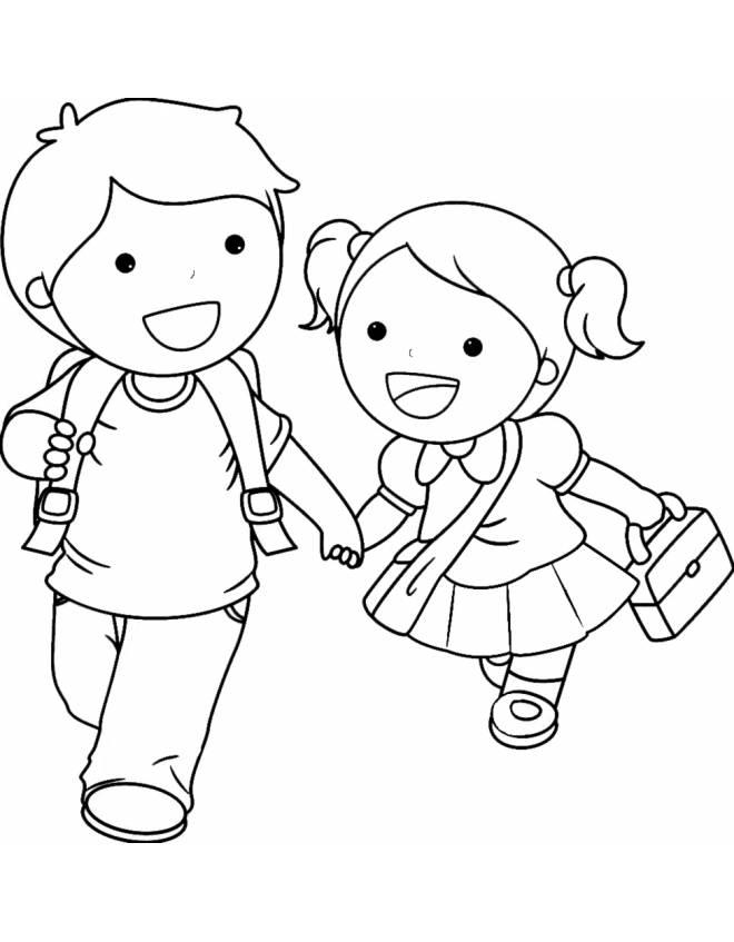 Disegno di bambini delle elementari da colorare per