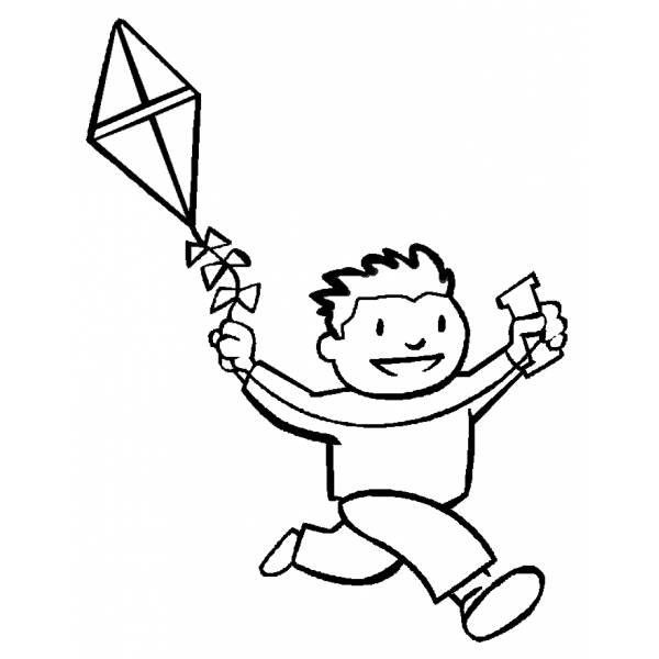 Disegno di Bambino con Aquilone da colorare
