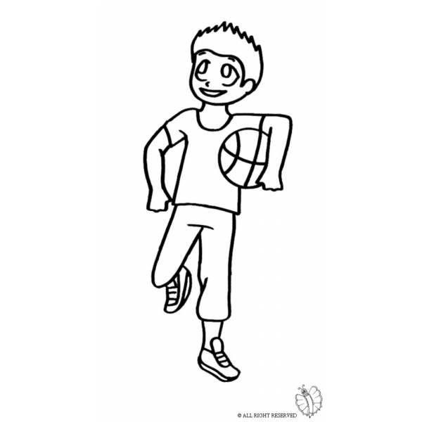 Disegno Di Giocare A Basket Da Colorare Per Bambini