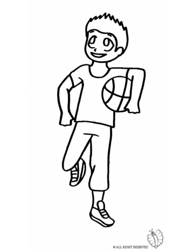 Disegno di giocare a basket da colorare per bambini - Immagini sportive da stampare ...