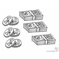 disegno di Banconote e Monete da colorare