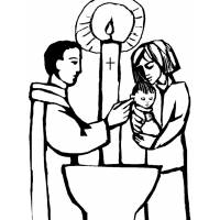 Disegno di Battesimo da colorare