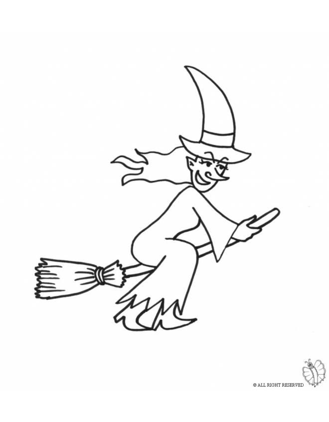 Disegno di strega sulla scopa da colorare per bambini - Come disegnare immagini di halloween ...