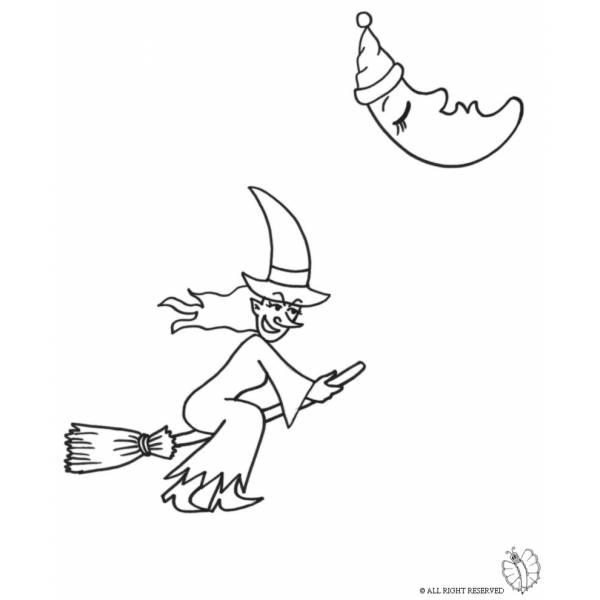 Disegno di Strega che Vola da colorare