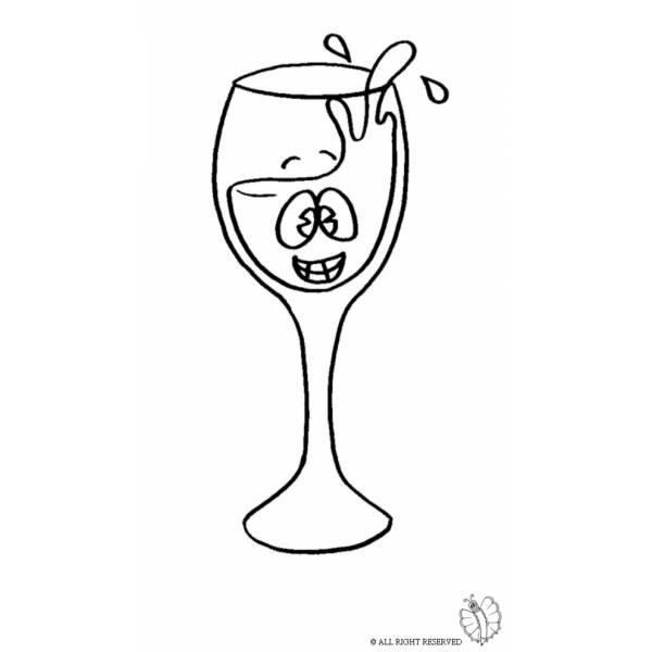 Disegno di Bicchiere di Vino da colorare