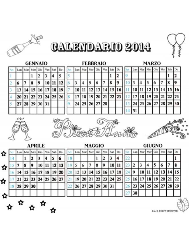 disegno di Calendario 2014  da Gennaio a Giugno da colorare