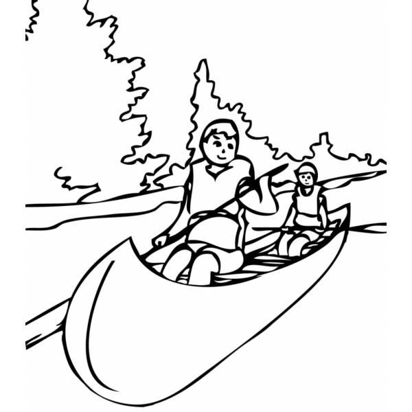 Disegno di Canoa sul Fiume da colorare