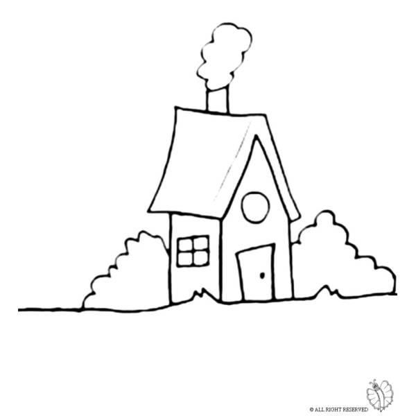 Disegno di casa nel bosco da colorare per bambini for Casa disegno