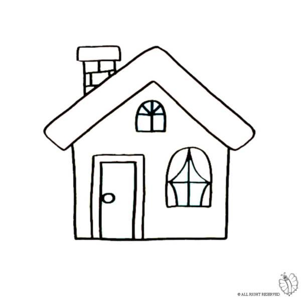 disegno di casa con camino da colorare per bambini