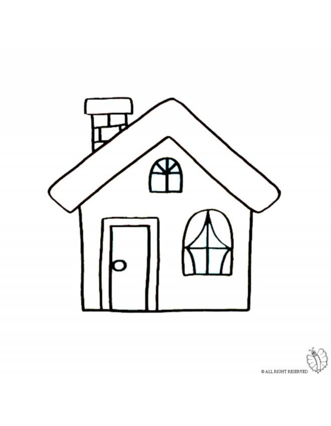 Disegno di casa con camino da colorare per bambini with disegni di case di campagna - Colorare casa esterno ...