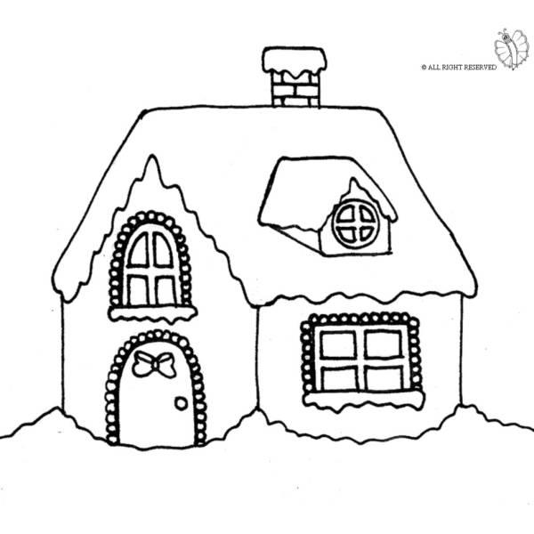 Disegno di Casetta Coperta di Neve da colorare