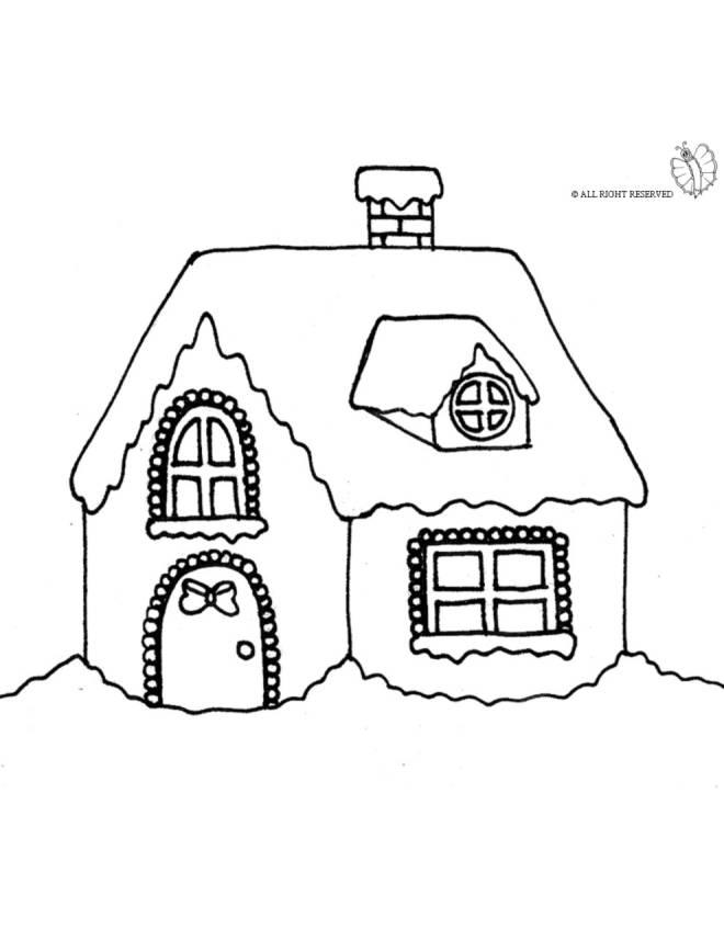 stampa disegno di casetta coperta di neve da colorare