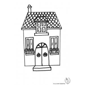 Disegno di casetta da colorare per bambini gratis for Casa disegno