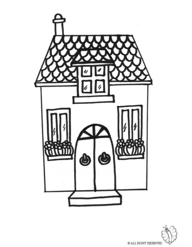 Stampa disegno di casetta da colorare for Disegni di case di tronchi