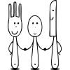 Disegno di Coltello Forchetta Cucchiaio da colorare