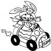 disegno di Coniglio in Auto da colorare