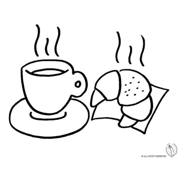 Disegno di Cornetto e Caffè da colorare