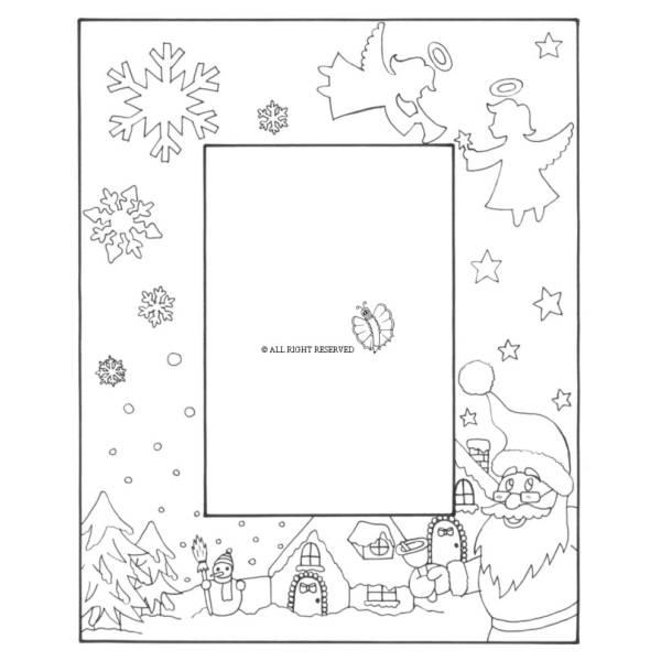 Disegno di Cornice di Natale Verticale da colorare