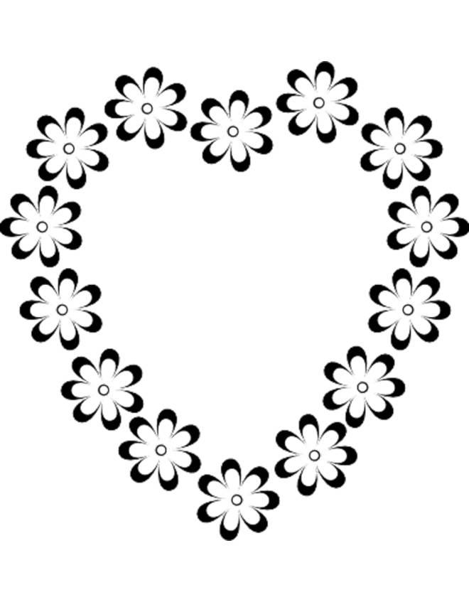 Disegno di cuore di fiori da colorare per bambini for Disegni di cuori da stampare gratis