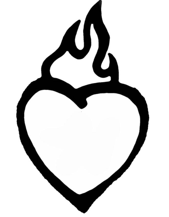Disegno di cuore in fiamme da colorare per bambini for Disegni da colorare dei cuori