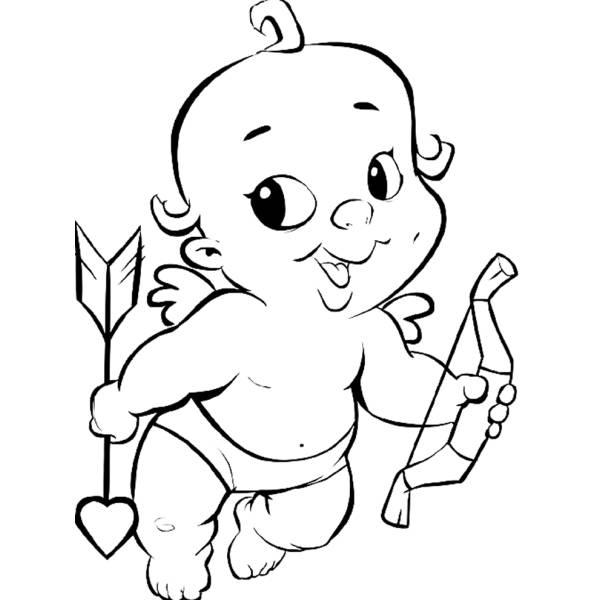 Disegno Di Baby Cupido Da Colorare Per Bambini