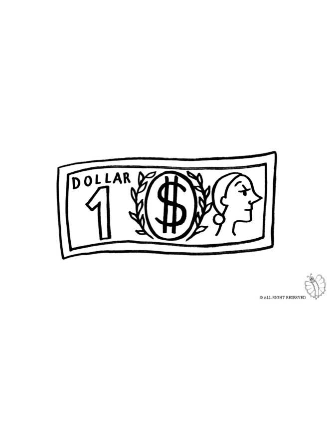 disegno di Dollaro da colorare