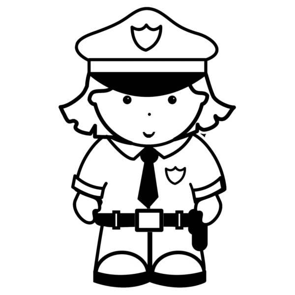 Disegno di Donna Poliziotta da colorare