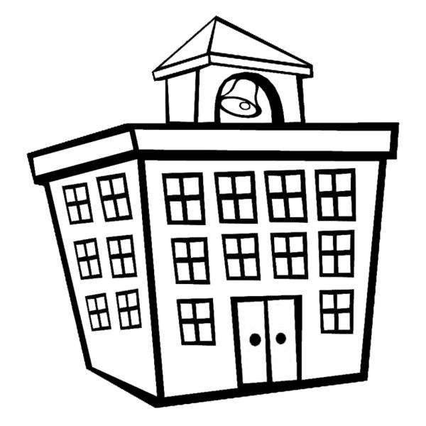 Disegno di edificio scolastico da colorare per bambini - Colorare la casa ...