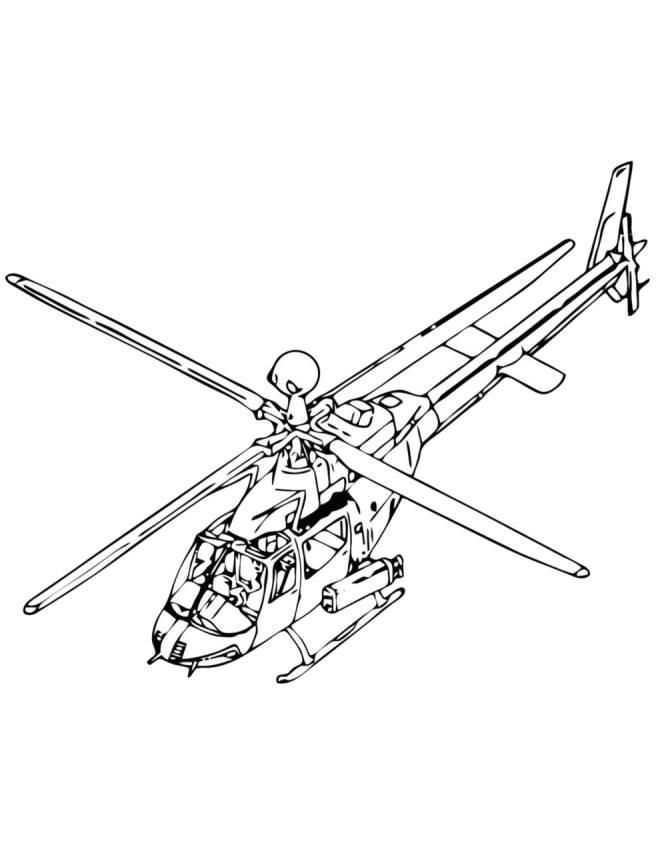 Elicottero Stilizzato : Stampa disegno di elicottero da colorare