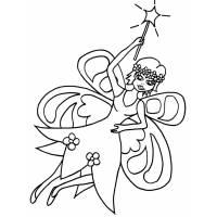 Disegno di Fatina con Bacchetta Magica da colorare