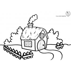 Disegno di fattoria da colorare per bambini gratis for Immagini di case in stile fattoria