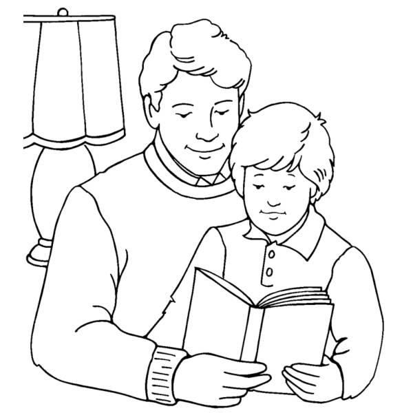 Disegno di padre e figlio da colorare per bambini