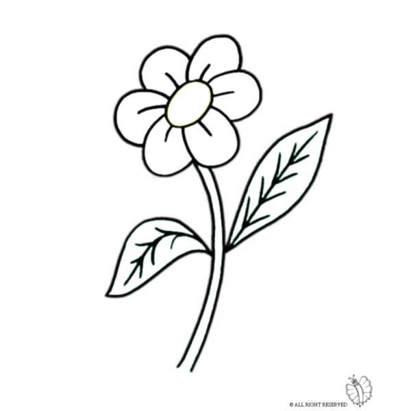 Disegno di Fiore con Foglie da colorare