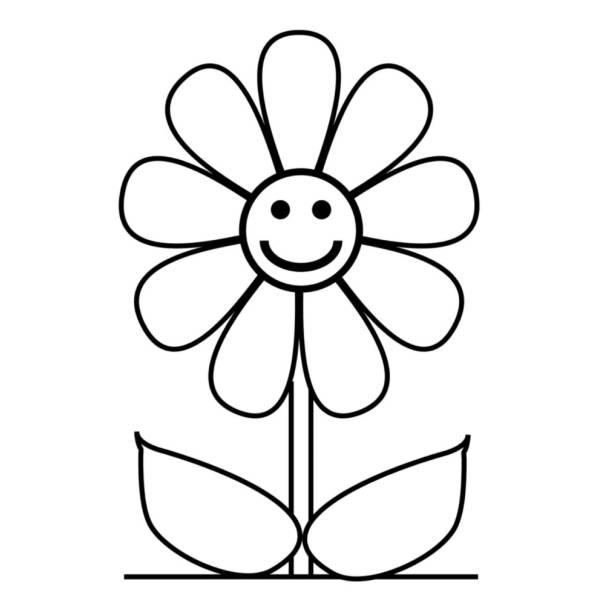 Disegno di Fiore con Sorriso da colorare