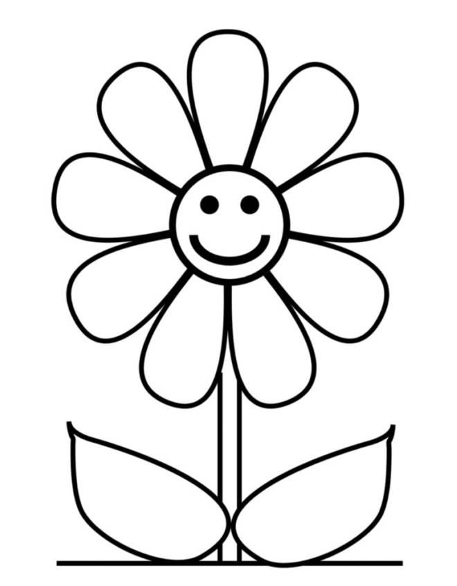 abbastanza Disegno di Fiore con Sorriso da colorare per bambini HG71