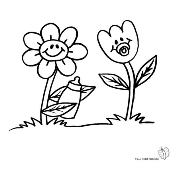Disegno di fiori animati da colorare per bambini for Design del mazzo online
