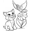 Disegno di Gattino e Uccellino da colorare