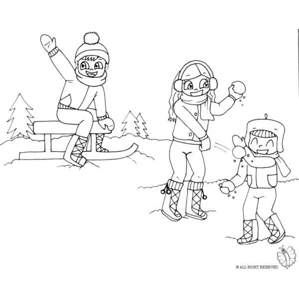 Disegno di Giocare con la Neve da colorare