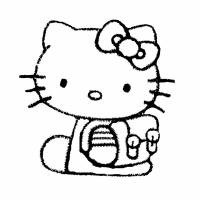 Disegno di Hello Kitty con Zainetto da colorare