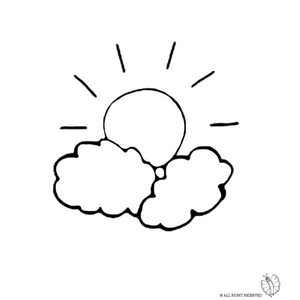 Disegno Di Il Sole E Le Nuvole Da Colorare Per Bambini