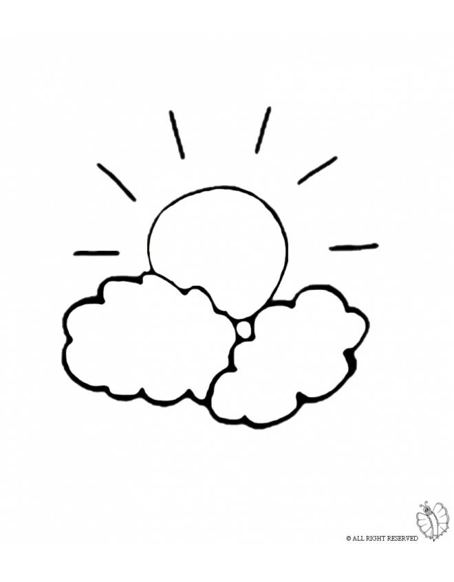 Disegno di il sole e le nuvole da colorare per bambini for Sole disegno da colorare
