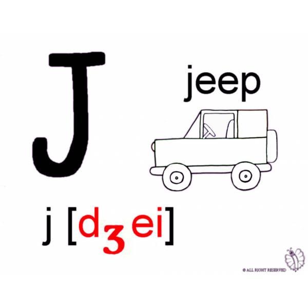 Disegno di lettera j alfabeto inglese da colorare per