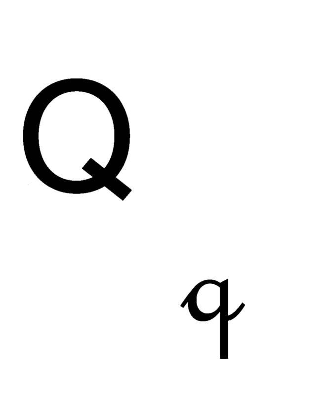 Disegno di lettera q corsivo e stampatello da colorare per