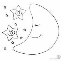 Disegno di Luna e Stelle da colorare